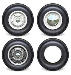 car tires with white steel disks vector image