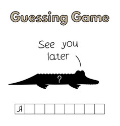 cartoon alligator guessing game vector image