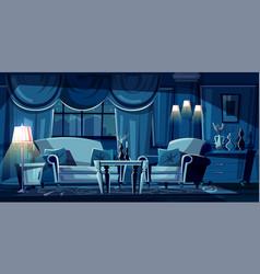 Cartoon living room at night interior vector