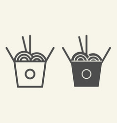 chinese noodles line and glyph icon noodle in box vector image