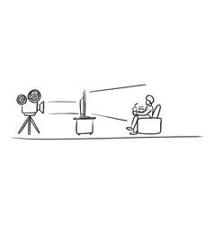 cinema online sketch doodle hand vector image