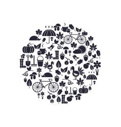 circle autumn silhouettes vector image