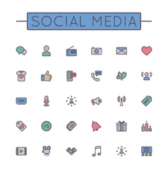 Colored Social Media Line Icons vector image
