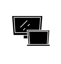 computer monitor black icon sign on vector image