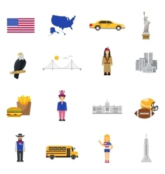 Culture Symbols USA Flat Icons Set vector image