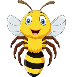 Cute bee flying isolated on white background vector image vector image