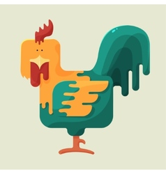 Cute color square shaped rooster with red crest vector