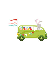 Cute little bunny driving vintage van car with vector