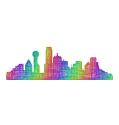 Dallas skyline silhouette - multicolor line art vector image