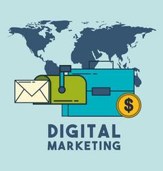 Digital marketing email mailbox money world vector