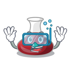 Diving delicious red wine with cartoon decanter vector