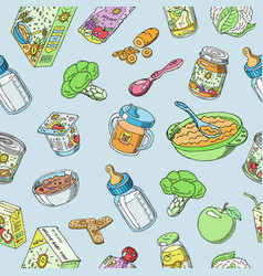 doodle bafood seamless pattern vector image