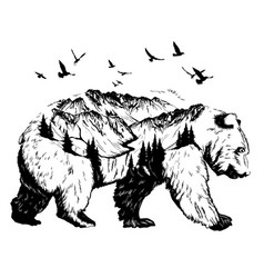 Double exposure bear and mountain landscape vector