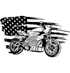 Draw in black and white american flag with bike vector