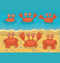 family crabs vector image