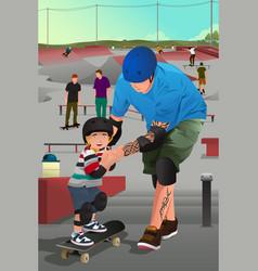 Father teaching his son skateboarding vector