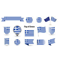 flag greece big set icons and symbols vector image