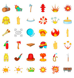 flame icons set cartoon style vector image