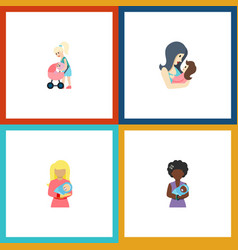 Flat icon mother set of kid newborn baby mam and vector