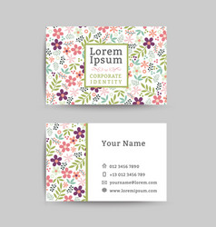 Floral business name card design template vector