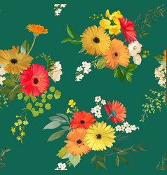 floral seamless pattern summer flowers background vector image