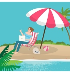 freelancer working remote enjoy on the beach sand vector image