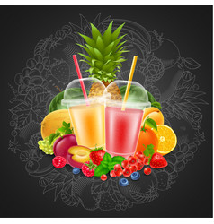 fruit and berries smoothie vector image