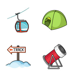 Funicular tent road sign snow cannon ski vector