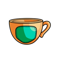 Gold hipster style cup with hot coffee and green vector