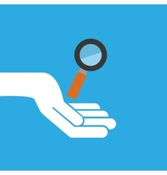 Hand hold icon search loupe design flat isolated vector