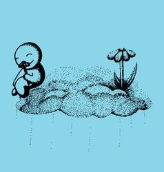 Happy cloud doodle vector image