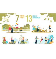Happy people and families characters scenes set vector