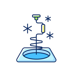 Ice fishing rgb color icon vector