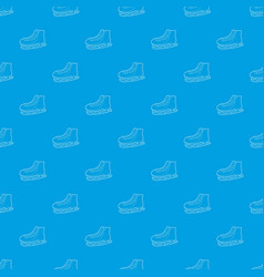 ice skate pattern seamless blue vector image