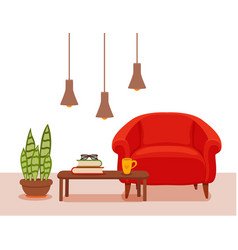 Interior with an armchair potted plant floor lamp vector