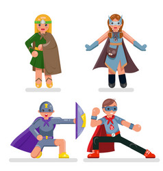 kids teens super hero characters set flat design vector image