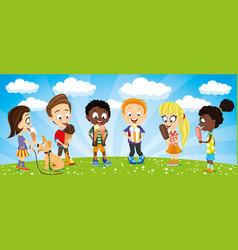 kids with ice cream in their hands vector image