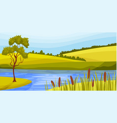 Lake and pasture land with grassy hills as green vector