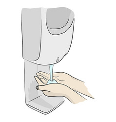 Liquid soap on two hands to protect covid-19 vector