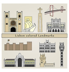 Lisbon colored Landmarks vector