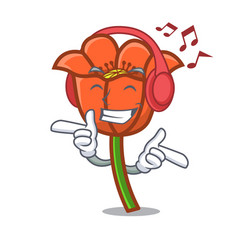 listening music poppy flower mascot cartoon vector image