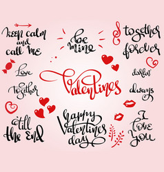 love and stvalentine themed lettering set vector image