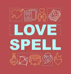 Love spell word concepts banner magic potion vector