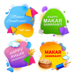 makar sankranti wallpaper with colorful kite for vector image