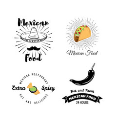 Mexican food set vintage vector