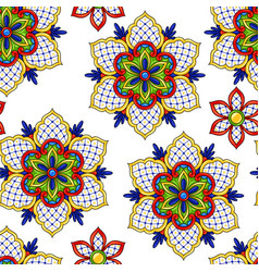 Mexican seamless pattern flowers vector