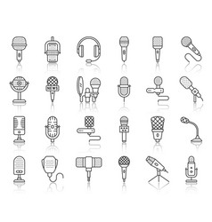 Microphone simple black line icons mic set vector