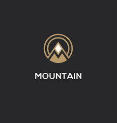 mountain logo with letter m in a shape circle vector image