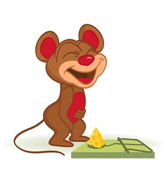 Mouse and cheese in mousetrap vector image