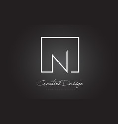 n square frame letter logo design with black and vector image